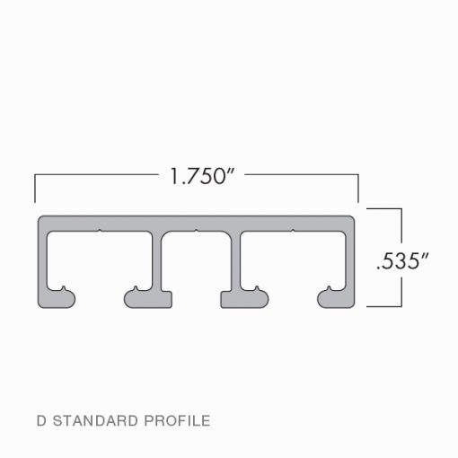 Technical Drawing of D Style Wall Mounted Standard Profile