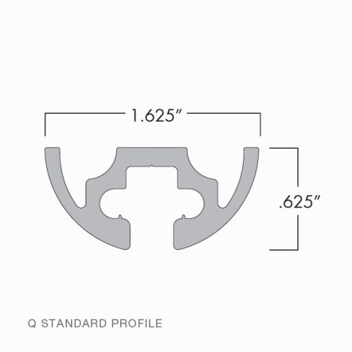 Technical Drawing of Q Style Wall Mounted Standard Profile
